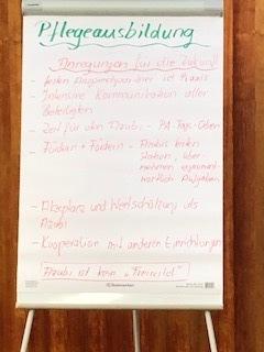 Tafel mit Ergebnissen des Workshops über den Pflegeberuf